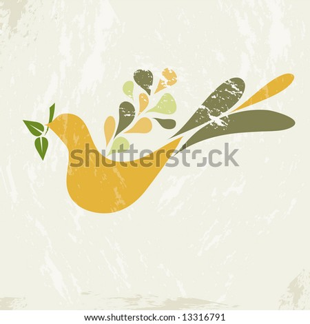"Retro inspired ""teardrop dove"" on grunge background with olive branch"
