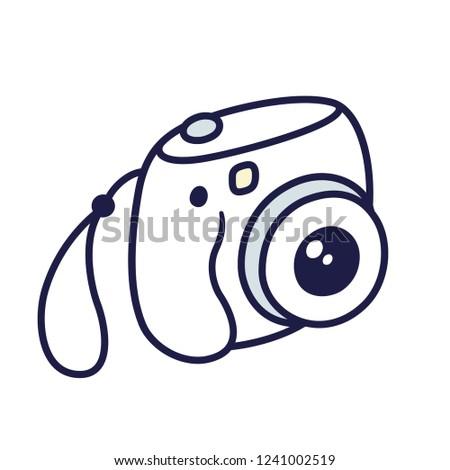 Retro instant camera drawing. Cute white mini photo camera doodle, vector illustration.