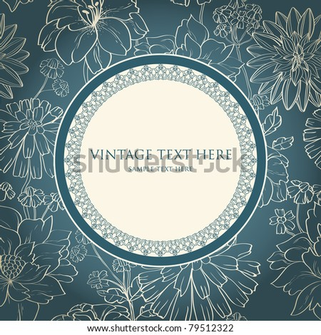 Retro invitation card on floral seamless background