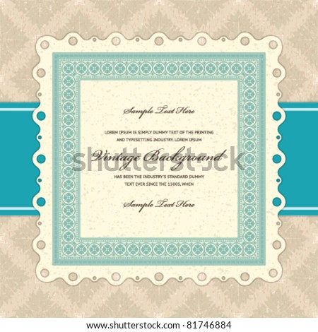 Retro invitation greeting card with ornament and old textured pattern. Vector background Eps 10.   Design template.