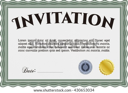 Retro invitation. Lovely design. Complex background. Border, frame.