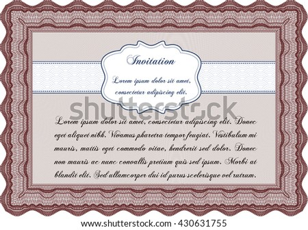 Retro invitation. Superior design. With quality background. Border, frame.
