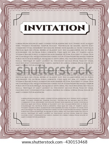 Retro invitation template. Beauty design. Border, frame. With linear background.
