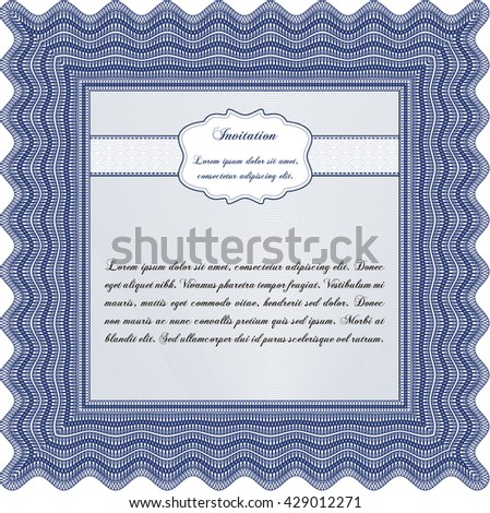 Retro invitation template. Beauty design. With linear background. Border, frame.