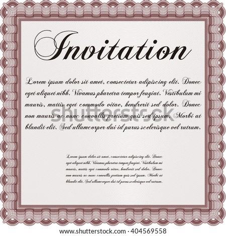 Retro invitation template. Border, frame. With linear background. Beauty design.