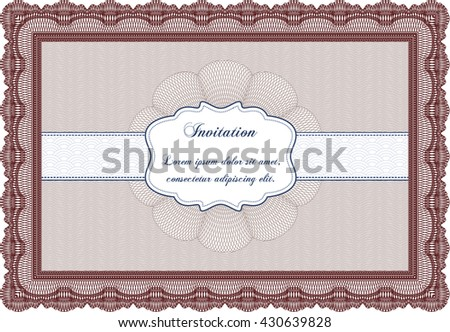 Retro invitation template. With linear background. Beauty design. Border, frame.