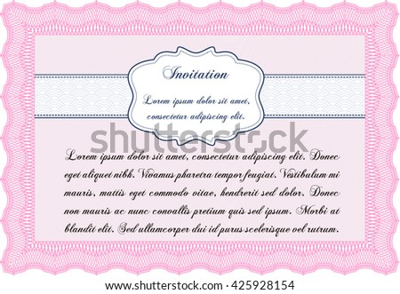 Retro invitation template. With linear background. Border, frame. Beauty design.