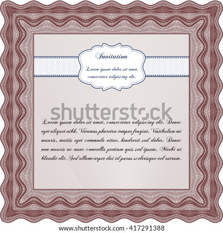 Retro invitation. With quality background. Border, frame. Superior design.