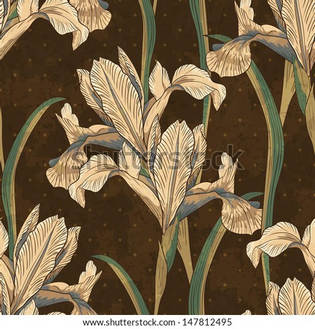 retro irises (blue flag flower), seamless floral pattern, vector illustration, eps10