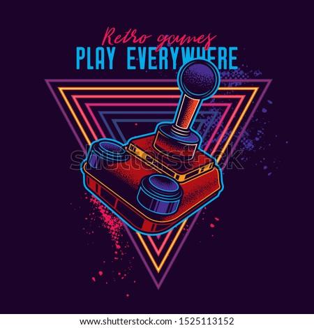 Retro joystick from 8-bit consoles. Vector illustration in neon style.