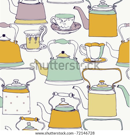 retro kettles and cups. seamless pattern