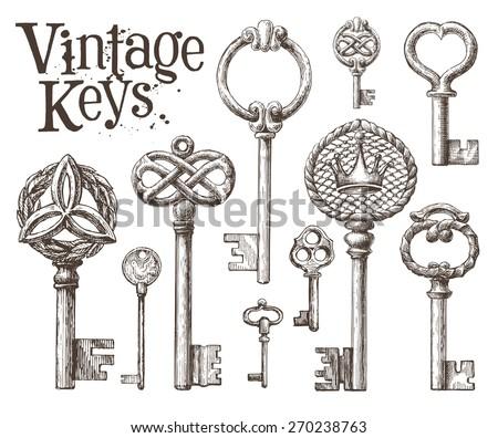 retro key vector logo design