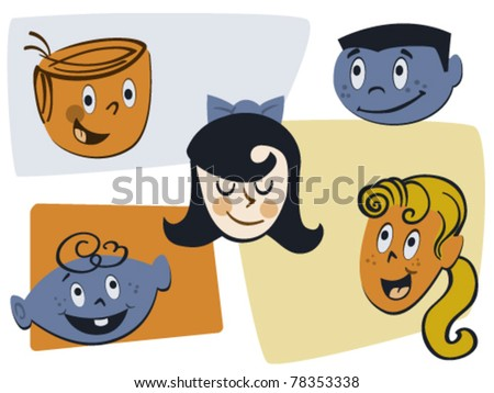 Retro Kid Faces Vector Illustration - stock vector
