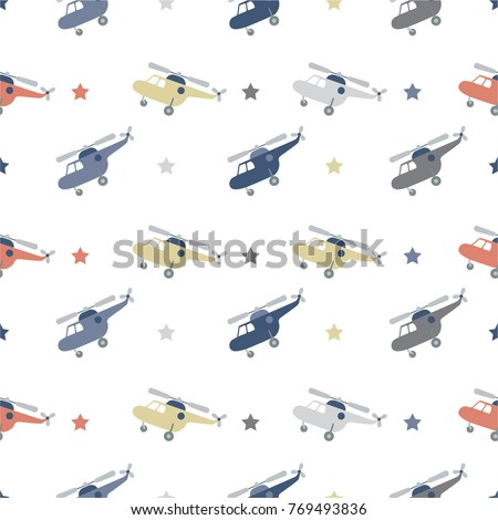 Retro kids seamless pattern with helicopters and stars. Seamless bright color pattern with cute cartoon helicopter. Baby pattern. Retro kids seamless pattern with helicopters and stars.