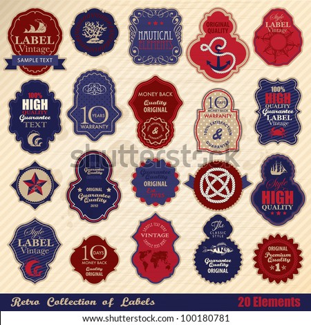 Retro label collection. Nautical theme