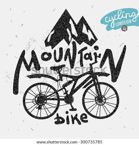 retro label mountain bike hand