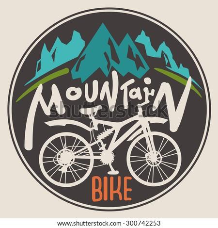 retro label mountain bike. hand ...