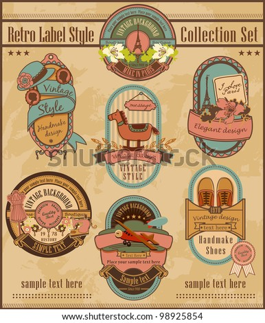 Retro Label Style Collection Set