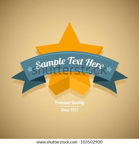 Retro label with gold star. Vector illustration.