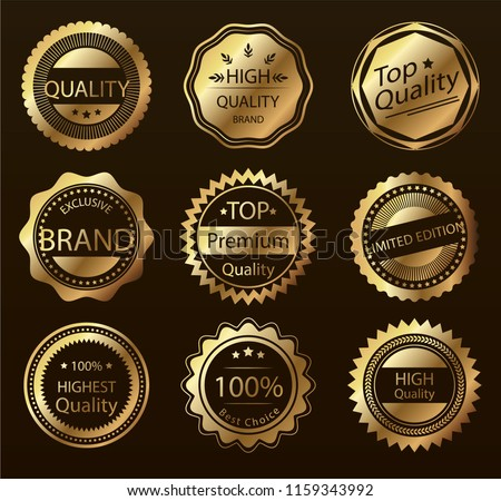 Retro labels and badges golden vector collection #1159343992