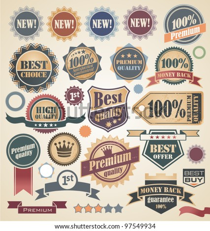 Retro labels and stickers collection. Vintage set of signs, symbols, icons and badges.