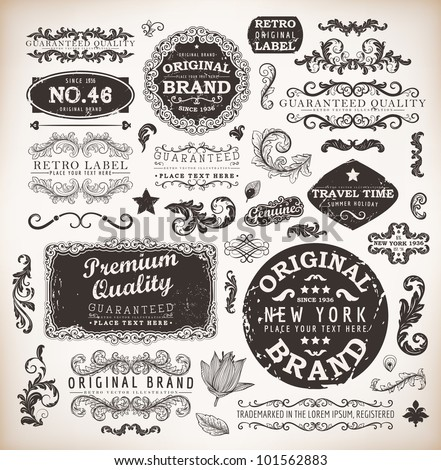 Retro labels and vintage badges: Original Brand, Guaranteed and Satisfaction, Travel Time, Genuine | Set of old page elements for design | Grunge background - stock vector