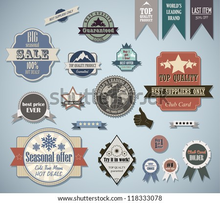 Retro labels set. Vector vintage elements for cool design.