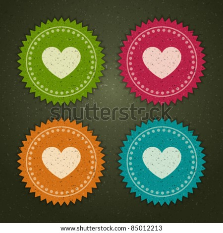 Retro labels set with heart shape vector illustration Eps 10. - stock vector