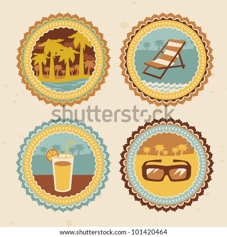 retro labels with summer icons - vector