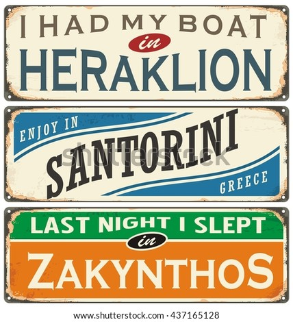 Retro labels with towns in Greece. Vintage signs collection. Travel theme.