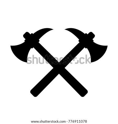 Retro labour emblem crossed axes vector illustration isolated on white background
