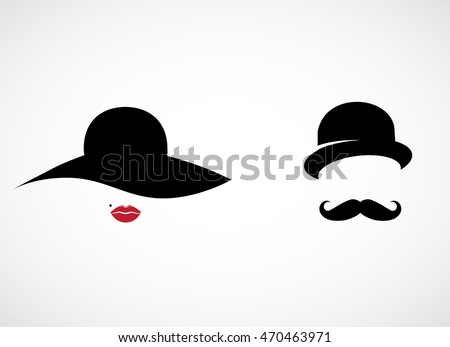 Retro lady and gentleman icon isolated on white background. Vector art.