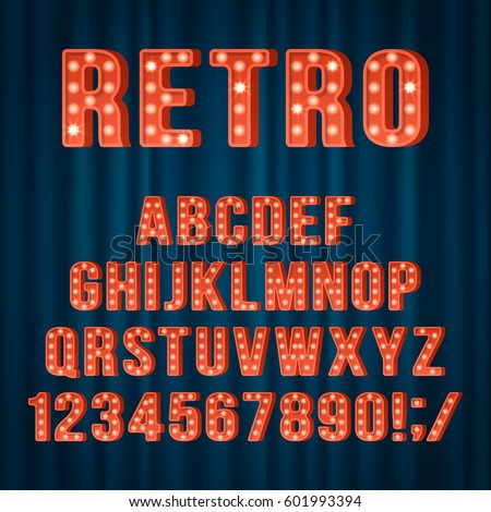 retro light bulb alphabet