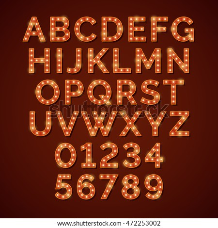 Retro light bulb bright alphabet, vector font. Neon abc and numbers for cinema or nightclub illustration