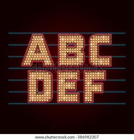Retro Light Bulb Font. Vector realistic lamps alphabet from A to F
