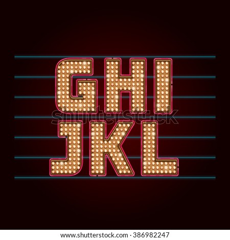 Retro Light Bulb Font. Vector realistic lamps alphabet from G to L