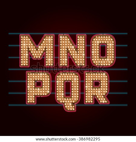 Retro Light Bulb Font. Vector realistic lamps alphabet from M to R