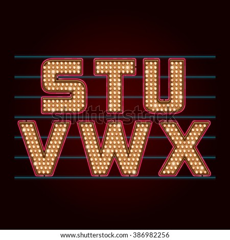 Retro Light Bulb Font. Vector realistic lamps alphabet from S to X