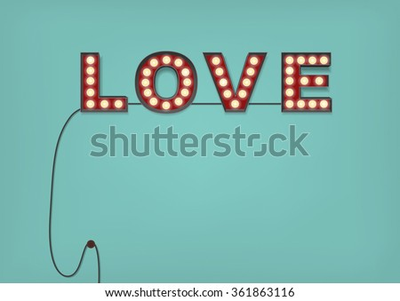 retro light bulb love sign on