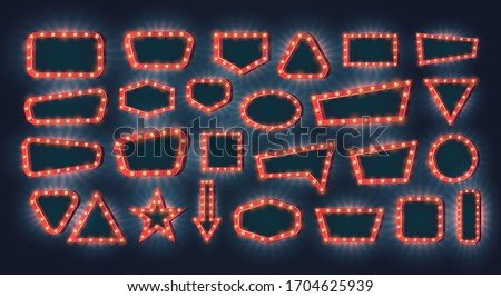 Retro light frames. Vector set of neon light bulbs with glow effect on a dark background with empty space inside. Free copy space for your text or design. Concept for casino or other games. Foto stock ©
