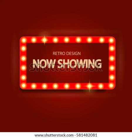 Retro light sign. Vintage style banner. Vector illustration. #581482081