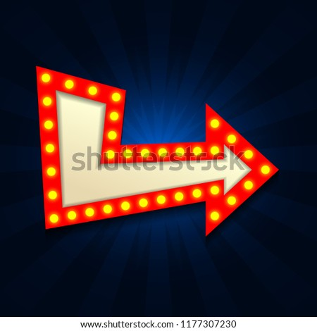 Retro Light Vintage signboard, cinema , billboard with lightbulp vector illustration