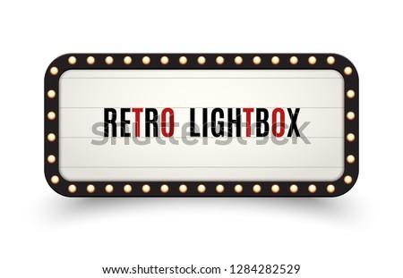 Retro lightbox billboard vintage frame. Vintage banner light box. Cinema or show signboard decoration advertise.