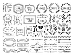 Retro line drawing frames, ribbons, decorations and plants