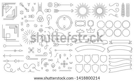 Retro line emblem elements. Vintage decorative drawing badges, old style lined dividers and frame borders lines vector set