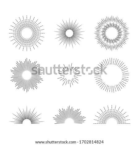 Retro linear sunrise icon. Sunburst line element for geometry background. Circle rays explotion for logo. Sun burst creative decoration. Vintage minimal radiant sparkles. Simple stars. vector Foto stock ©