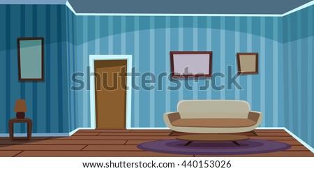 retro living room   blue