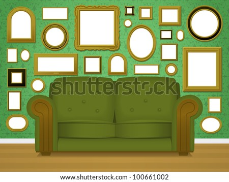 Retro living room interior vector with an upholstered green couch in front of a wallpapered wall covered in multiple empty blank picture frames in a variety of shapes and sizes