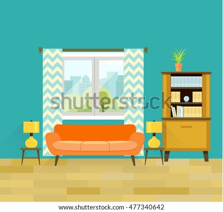 retro living room with
