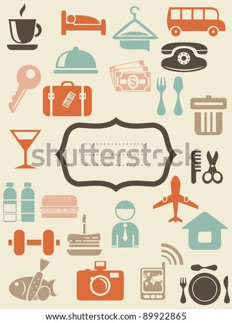 retro locations and places icons with blank banner - stock vector